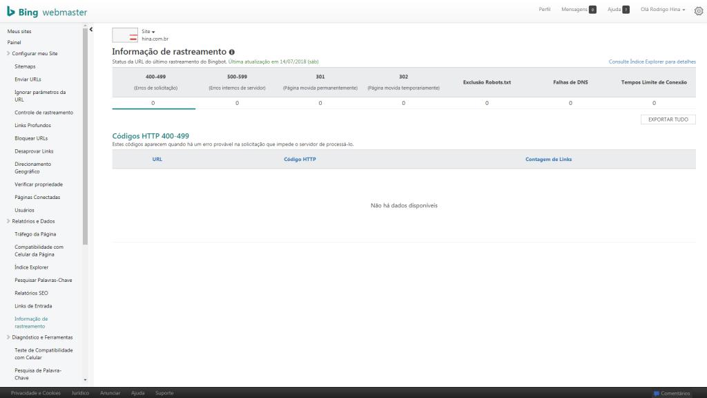 Bing Webmasters Tools - Erro 404