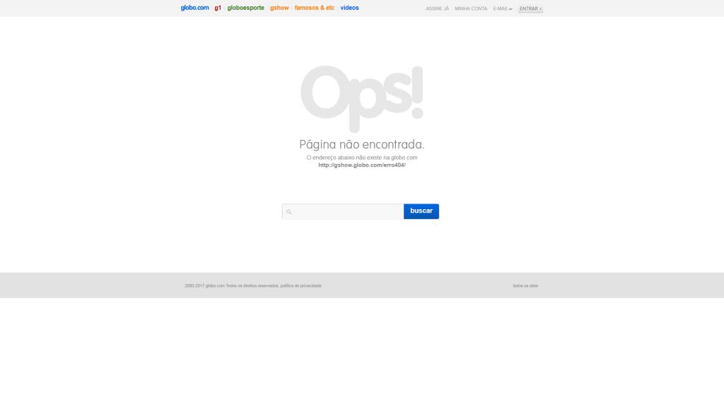 Erro 404 - Globo.com - 2018