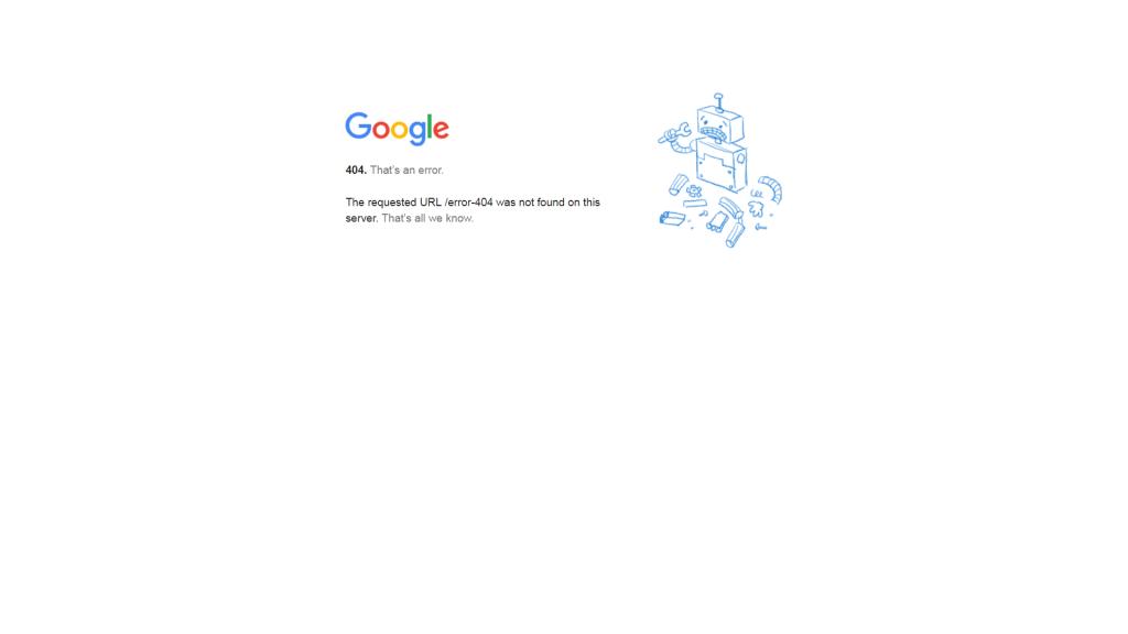 Erro 404 Google.com